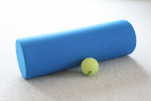 foam roll and tennis ball
