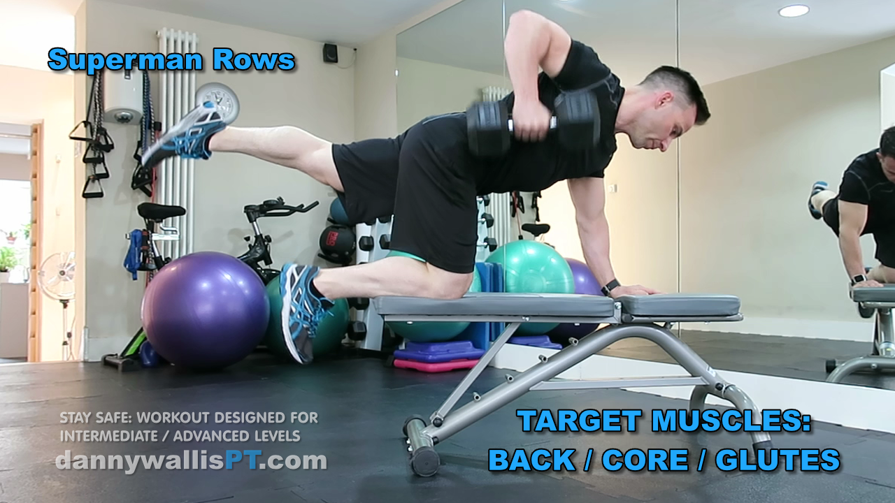 stability exercise superman rows